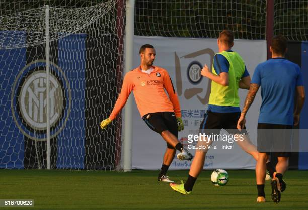 Samir Handanovic of FC Internazionale in action during a FC Interazionale training session at Suning training center on July 19 2017 in Nanjing China