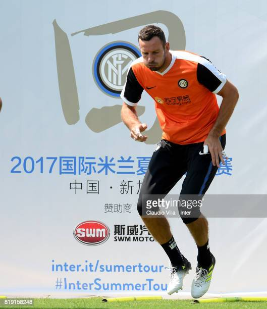Samir Handanovic of FC Internazionale in action during a FC Interazionale training session at Suning training center on July 20 2017 in Nanjing China