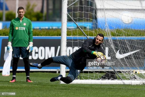 Samir Handanovic of FC Internazionale in action during FC Internazionale training session at Suning Training Center at Appiano Gentile on May 03 2017...