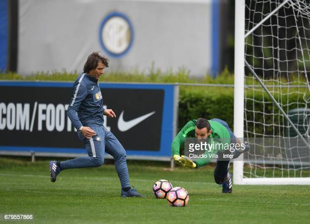 Samir Handanovic of FC Internazionale in action during FC Internazionale training session at Suning Training Center at Appiano Gentile on May 06 2017...