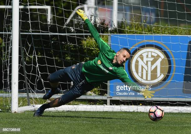 Samir Handanovic of FC Internazionale in action during FC Internazionale training session at Suning Training Center at Appiano Gentile on May 09 2017...
