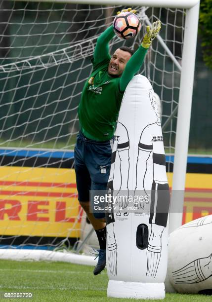 Samir Handanovic of FC Internazionale in action during FC Internazionale training session at Suning Training Center at Appiano Gentile on May 12 2017...