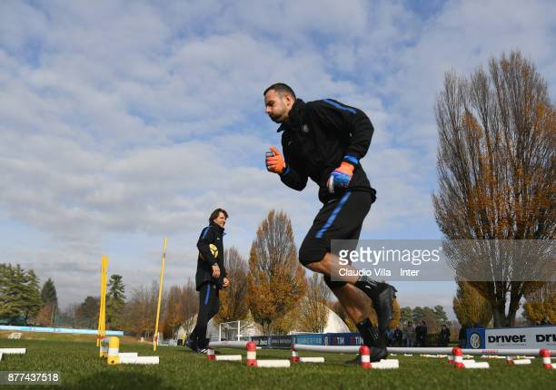 Samir Handanovic of FC Internazionale in action during the FC Internazionale training session at Suning Training Center at Appiano Gentile on...