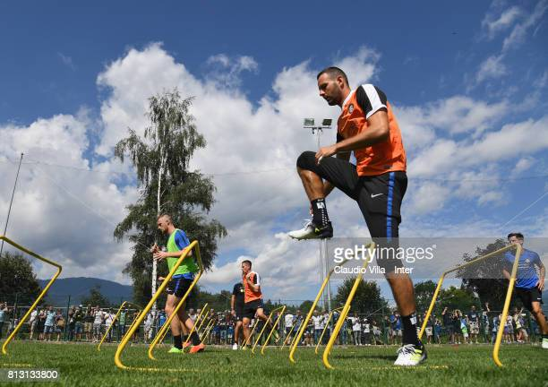 Samir Handanovic of FC Internazionale in action during the FC Internazionale training session on July 12 2017 in Reischach near Bruneck Italy