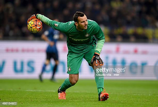 Samir Handanovic of FC Internazionale in action during the Serie A match between FC Internazionale Milano and AS Roma at Stadio Giuseppe Meazza on...