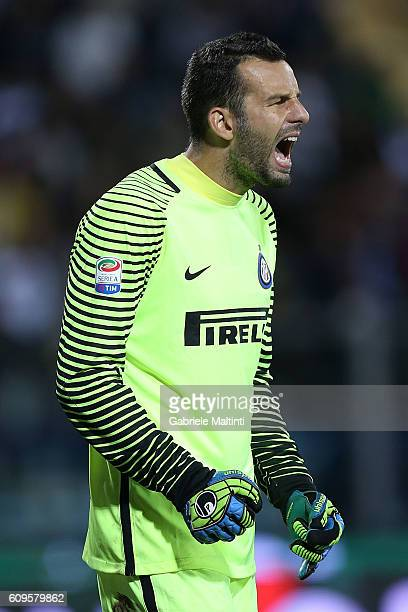 Samir Handanovic of FC Internazionale in action during the Serie A match between Empoli FC and FC Internazionale at Stadio Carlo Castellani on...
