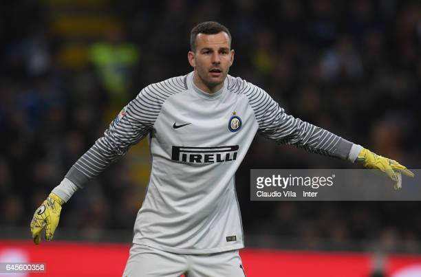 Samir Handanovic of FC Internazionale in action during the Serie A match between FC Internazionale and AS Roma at Stadio Giuseppe Meazza on February...