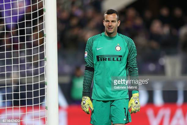 Samir Handanovic of FC Internazionale in action during the Serie A match between ACF Fiorentina v FC Internazionale at Stadio Artemio Franchi on...