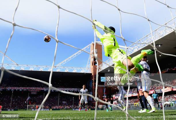Samir Handanovic of FC Internazionale in action during the Serie A match between Genoa CFC and FC Internazionale at Stadio Luigi Ferraris on May 7...