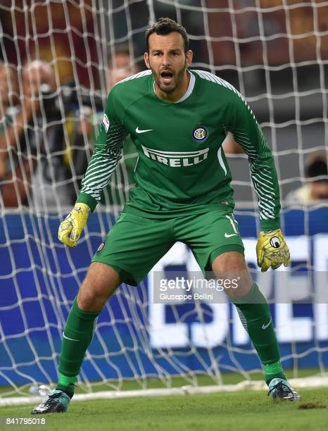 Samir Handanovic of FC Internazionale in action during the Serie A match between AS Roma and FC Internazionale at Stadio Olimpico on August 26 2017...
