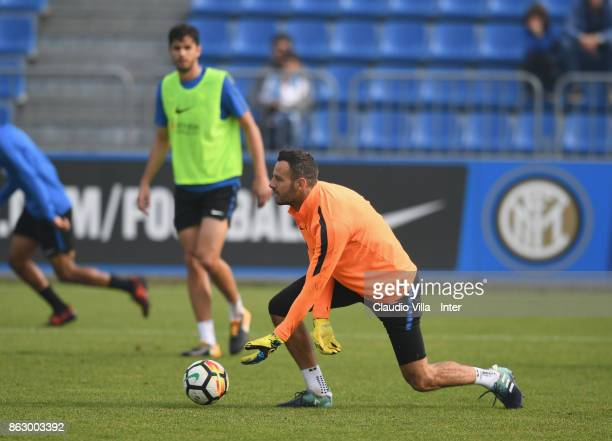 Samir Handanovic of FC Internazionale in action during the training session at Suning Training Center at Appiano Gentile on October 19 2017 in Como...