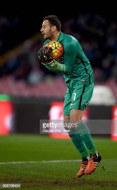 Samir Handanovic of FC Internazionale in action the TIM Cup match between SSC Napoli and FC Internazionale Milano at Stadio San Paolo on January 19...