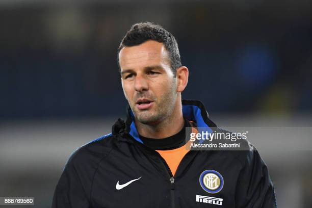 Samir Handanovic of FC Internazionale looks on before the Serie A match between Hellas Verona FC and FC Internazionale at Stadio Marc'Antonio...