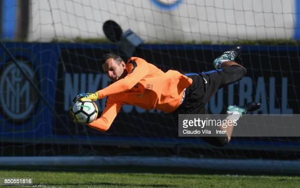 Samir Handanovic of FC Internazionale looks on during a training session at Suning Training Center at Appiano Gentile on September 21 2017 in Como...