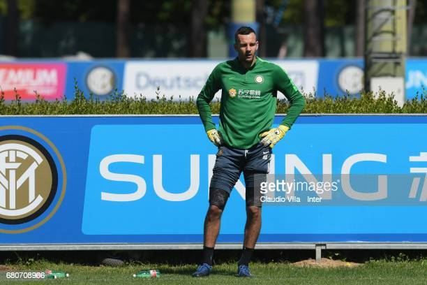 Samir Handanovic of FC Internazionale looks on during FC Internazionale training session at Suning Training Center at Appiano Gentile on May 09 2017...