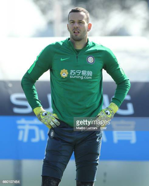 Samir Handanovic of FC Internazionale looks on during the FC Internazionale training session at the club's training ground Suning Training Center in...