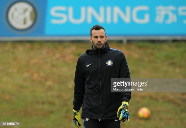 Samir Handanovic of FC Internazionale looks on during the FC Internazionale training session at the club's training ground 'La Pinetina' on November...