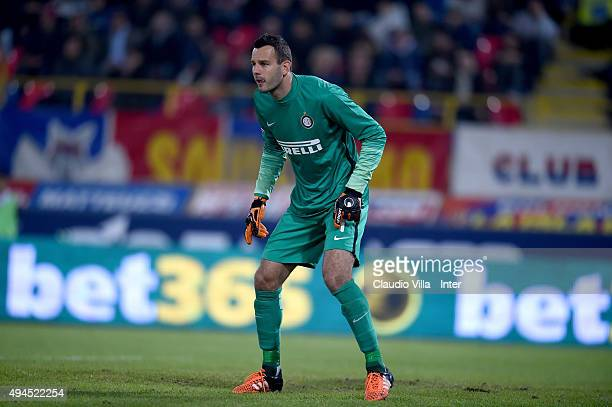 Samir Handanovic of FC Internazionale looks on during the Serie A match between Bologna FC and FC Internazionale Milano at Stadio Renato Dall'Ara on...