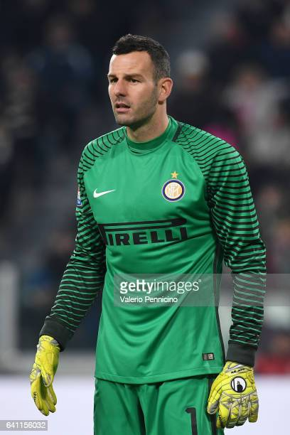 Samir Handanovic of FC Internazionale looks on during the Serie A match between Juventus FC and FC Internazionale at Juventus Stadium on February 5...