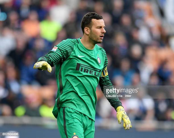 Samir Handanovic of FC Internazionale looks on during the Serie A match between FC Internazionale and Atalanta BC at Stadio Giuseppe Meazza on March...