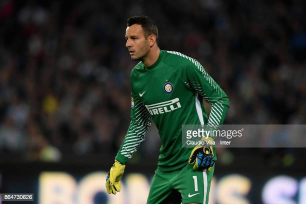 Samir Handanovic of FC Internazionale looks on during the Serie A match between SSC Napoli and FC Internazionale at Stadio San Paolo on October 21...