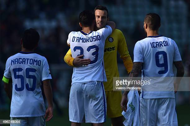 Samir Handanovic of FC Internazionale Milano celebrates with his team mates the victory at the end of the Serie A match between Torino FC and FC...
