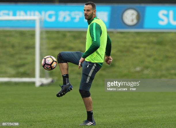 Samir Handanovic of FC Internazionale Milano controls the ball during the FC Internazionale training session at the club's training ground Suning...