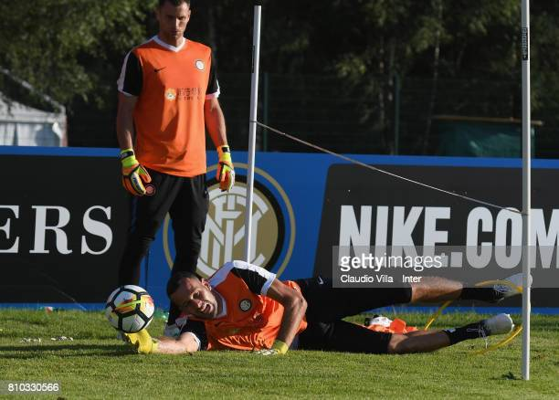 Samir Handanovic of FC Internazionale Milano in action during a FC Internazionale training session on July 7 2017 in Reischach near Bruneck Italy