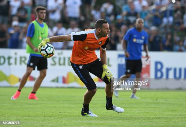 Samir Handanovic of FC Internazionale Milano in action during a FC Internazionale training session on July 8 2017 in Reischach near Bruneck Italy