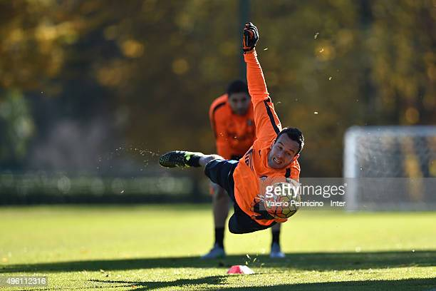Samir Handanovic of FC Internazionale Milano in action during an FC Internazionale training session at the club's training ground at Appiano Gentile...