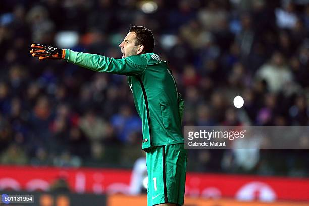 Samir Handanovic of FC Internazionale Milano in action during the Serie A match betweeen Udinese Calcio and FC Internazionale Milano at Stadio Friuli...