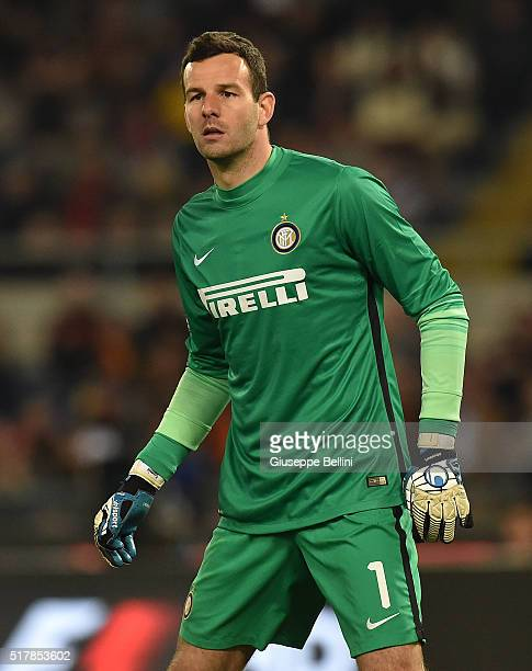 Samir Handanovic of FC Internazionale Milano in action during the Serie A match between AS Roma and FC Internazionale Milano at Stadio Olimpico on...
