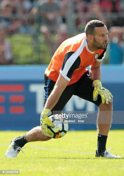 Samir Handanovic of FC Internazionale Milano in action during the FC Internazionale training session on July 12 2017 in Reischach near Bruneck Italy