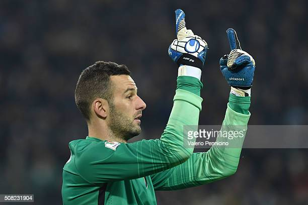 Samir Handanovic of FC Internazionale Milano issues instructions during the TIM Cup match between Juventus FC and FC Internazionale Milano at...