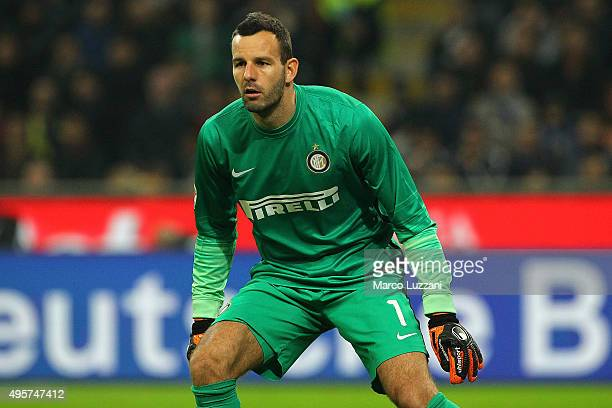 Samir Handanovic of FC Internazionale Milano looks on during the Serie A match between FC Internazionale Milano and AS Roma at Stadio Giuseppe Meazza...