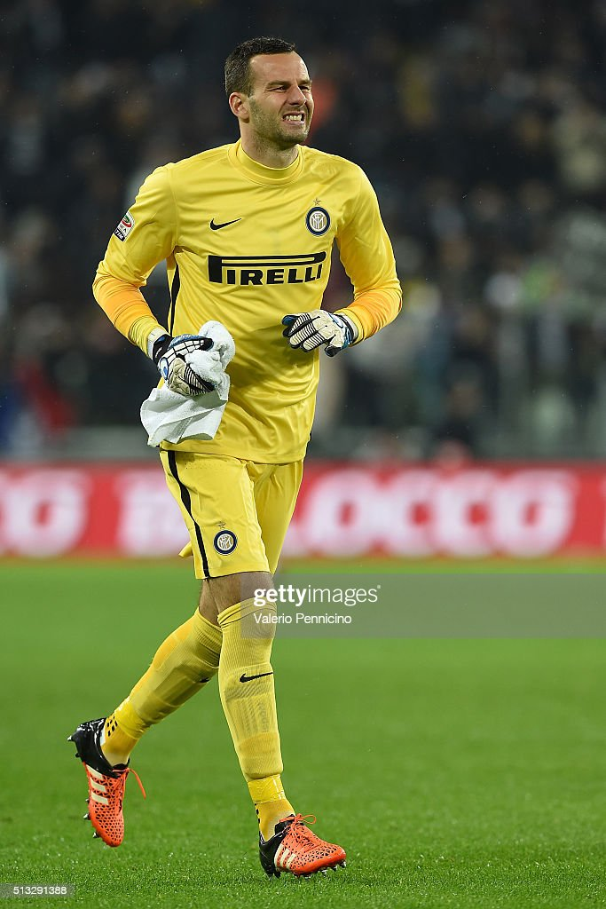 Samir Handanovic of FC Internazionale Milano looks on during the Serie A match between Juventus FC and FC Internazionale Milano at Juventus Arena on February 28, 2016 in Turin, Italy.