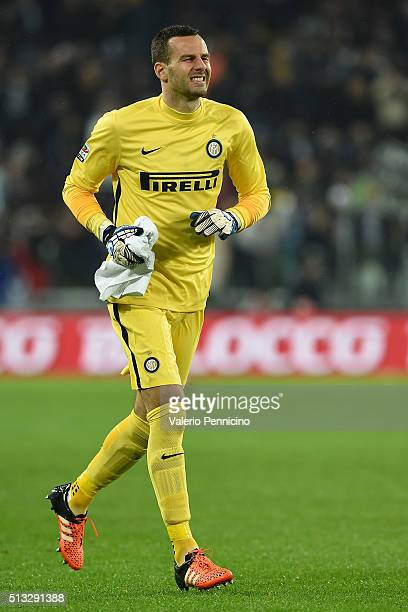Samir Handanovic of FC Internazionale Milano looks on during the Serie A match between Juventus FC and FC Internazionale Milano at Juventus Arena on...