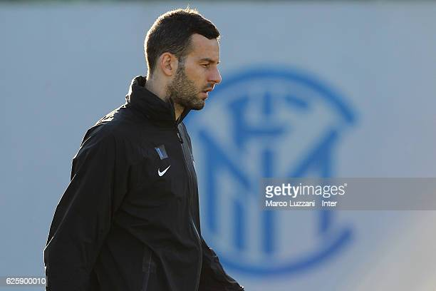 Samir Handanovic of FC Internazionale Milano looks on during the FC Internazionale training session at the club's training ground 'La Pinetina' on...