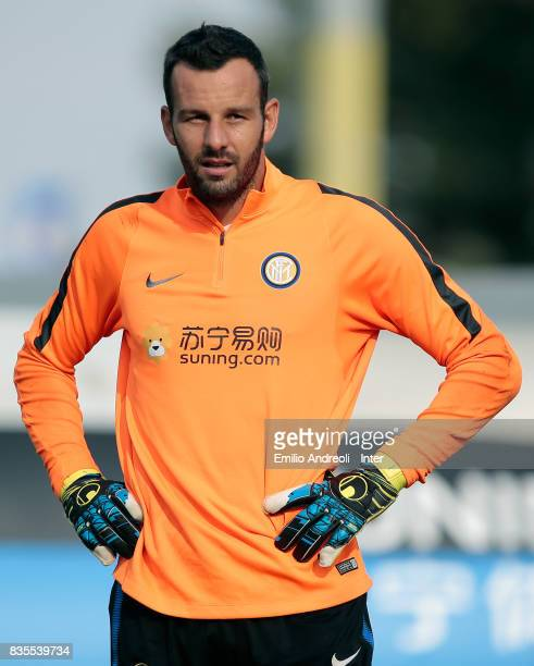 Samir Handanovic of FC Internazionale Milano looks on during the FC Internazionale training session at the club's training ground Suning Training...