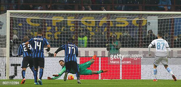 Samir Handanovic of FC Internazionale Milano saves the penalty kick during the Serie A match between FC Internazionale Milano and SS Lazio at Stadio...