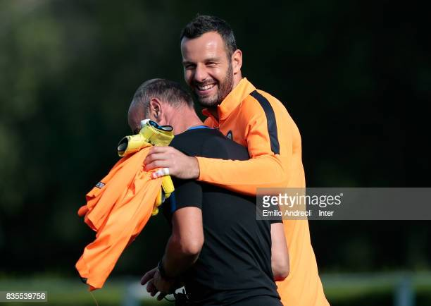 Samir Handanovic of FC Internazionale Milano smiles during the FC Internazionale training session at the club's training ground Suning Training...