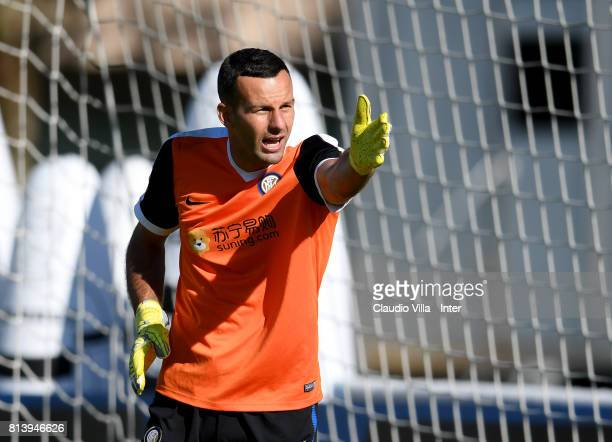 Samir Handanovic of FC Internazionale reacts during the FC Internazionale training session on July 13 2017 in Reischach near Bruneck Italy