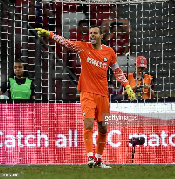 Samir Handanovic of FC Internazionale reacts during the International Champions Cup match between FC Bayern and FC Internazionale at National Stadium...