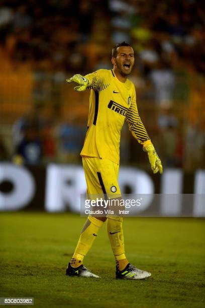 Samir Handanovic of FC Internazionale reacts during the PreSeason Friendly match between FC Internazionale and Real Betis at Stadio Via del Mare on...