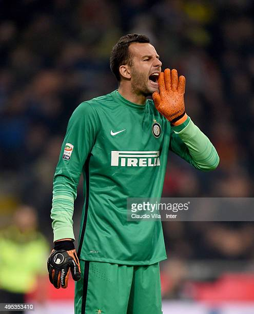 Samir Handanovic of FC Internazionale reacts during the Serie A match between FC Internazionale Milano and AS Roma at Stadio Giuseppe Meazza on...