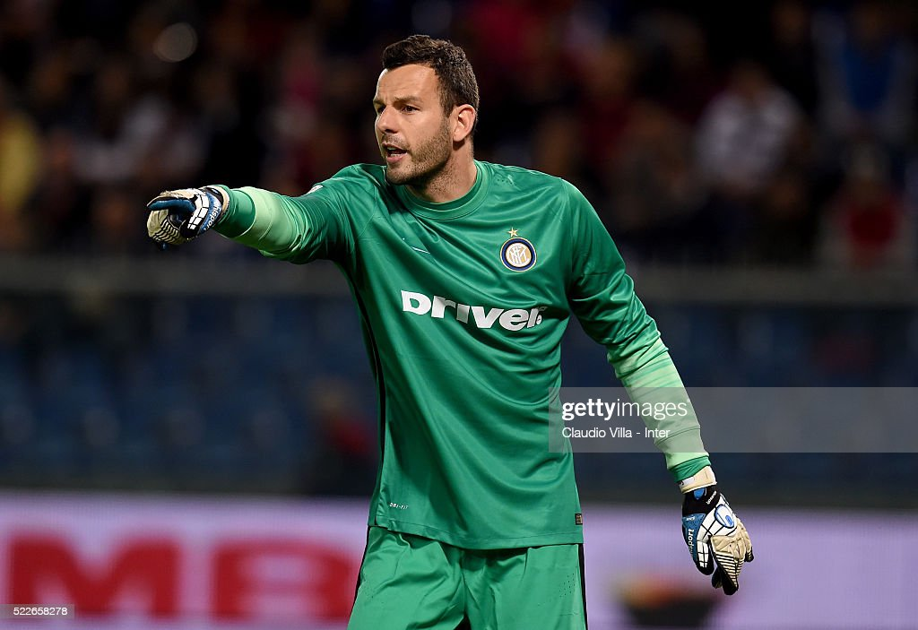 Samir Handanovic of FC Internazionale reacts during the Serie A match between Genoa CFC and FC Internazionale Milano at Stadio Luigi Ferraris on April 20, 2016 in Genoa, Italy.