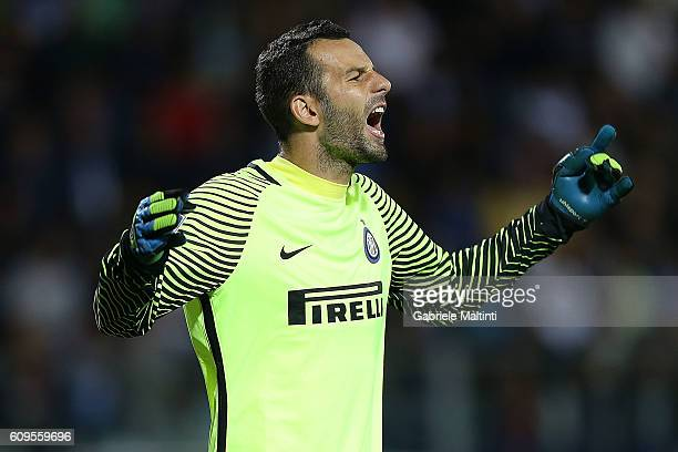 Samir Handanovic of FC Internazionale reacts during the Serie A match between Empoli FC and FC Internazionale at Stadio Carlo Castellani on September...