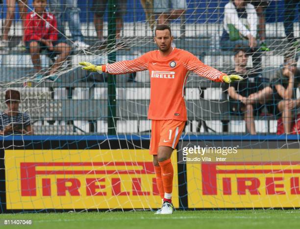 Samir Handanovic of FC Internazionale reatcs during the Preseason Friendly match between FC Internazionale and Wattens on July 9 2017 in Reischach...