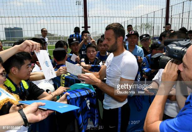 Samir Handanovic of FC Internazionale signs autographs for fans after a FC Interazionale training session at Suning training center on July 20 2017...