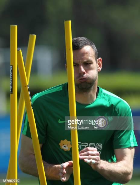 Samir Handanovic of FC Internazionale trains during the FC Internazionale training session at the club's training ground Suning Training Center in...